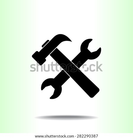 Service symbol. Hammer with wrench sign icon, vector illustration. Flat design style  - stock vector