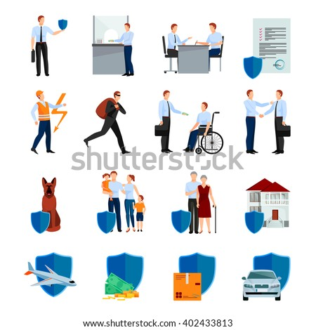 Services of insurance company icons set with policy negotiations security of health and property isolated vector illustration  - stock vector