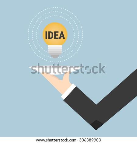 Serving idea light bulb - stock vector