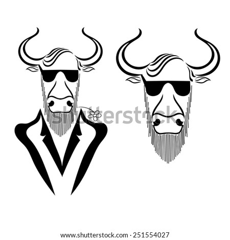 Set a bull in a jacket with chamomile in teeth and glasses isolated on white background. Hipster. Vector illustration. - stock vector