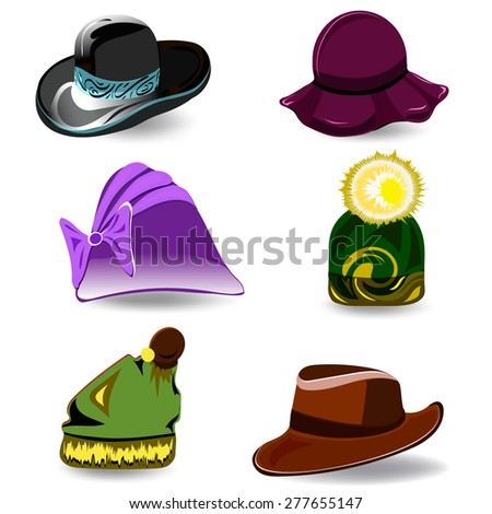 Set a variety of hats for women and men. Colorful cartoon style. Vector illustration - stock vector