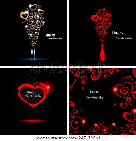 Set abstract backgrounds for the day Valentine.  - stock vector