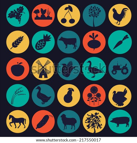 Set agriculture, farming icons. Vector illustration - stock vector