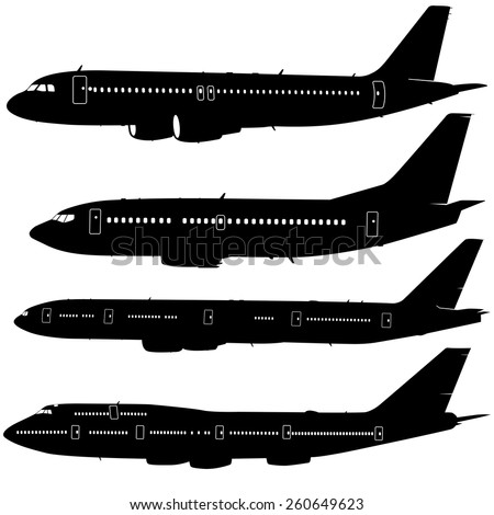 Set  aircraft silhouettes.  vector illustration  - stock vector