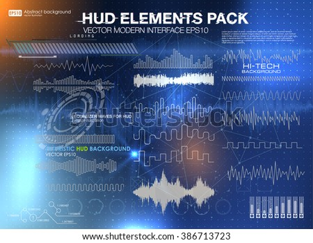 set audio equalizer technology, pulse musical. abstract isolated vector illustration. Set graphs and charts. Statistic and data, information infographic. HUD background outer space - stock vector