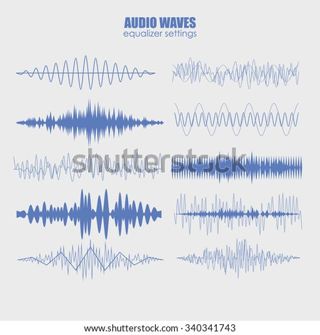 set audio equalizer technology, pulse musical. Audio equalizer sound wave display horizontal. abstract isolated vector illustration - stock vector
