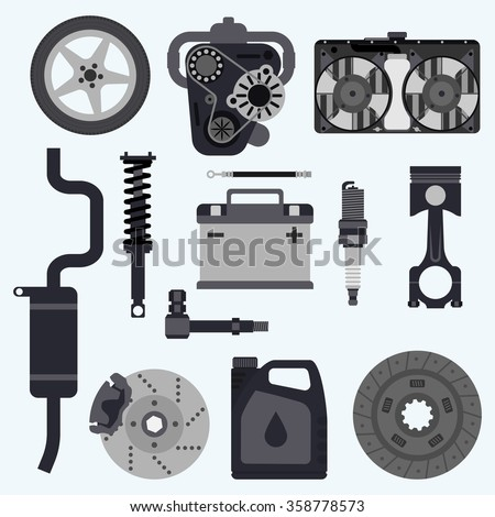 Set auto parts. Automobile systems. Set parts for car repairs.  Engine, wheel, piston, brake, battery, cooling, absorber, exhaust, radiator, suspension, candle, clutch. Vector illustration  - stock vector