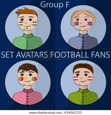Set avatars championship football fans with flags of countries one group - stock vector