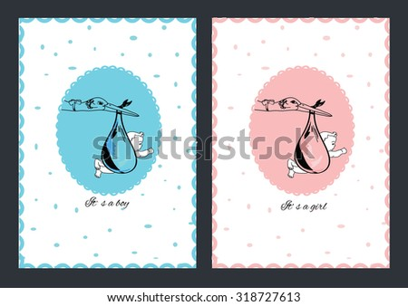 Set baby card of stork with baby girl and boy in oval. Vector illustration  - stock vector