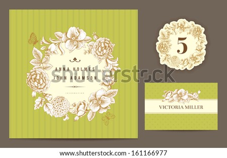 Set backgrounds to celebrate the wedding. Invitation card, table number, guest card. Vector illustration.  Round frame from flowers roses, dog-rose, hydrangea on a green background. - stock vector