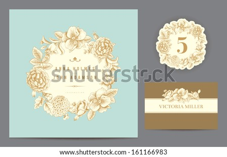 Set backgrounds to celebrate the wedding. Invitation card, table number, guest card. Vector illustration.  Round frame from flowers roses, dog-rose, hydrangea on a mint background. - stock vector