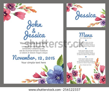 Set backgrounds to celebrate the wedding with watercolor flowers. Wedding invitation,   guest card, menu card. Vector illustration. - stock vector
