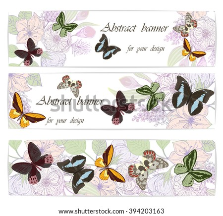 Set backgrounds with flowers and  butterflies . Vector illustration, EPS 10 - stock vector
