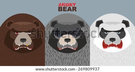 Set bad bears. Wild angry animals. Villains. Vector illustration - stock vector