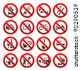 Set ban icons Prohibited signs Nature symbols - stock vector