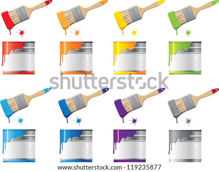 set Bank with a colorful paint and brush - stock vector