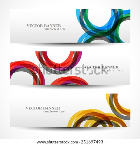 Set banner abstract illustration, colorful digital composition - stock vector
