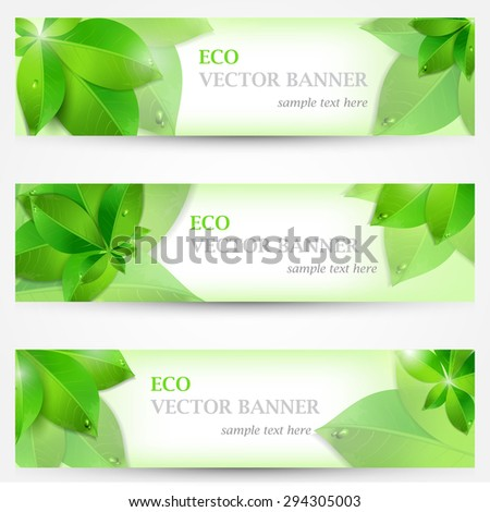 Set banner ecology illustration, colorful composition. EPS 10 - stock vector