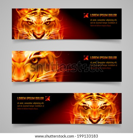 Set banners. Fire tiger message. Black background - stock vector