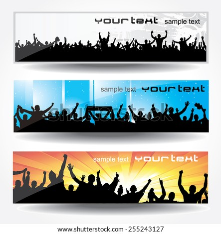 Set banners for sporting events and concerts - stock vector