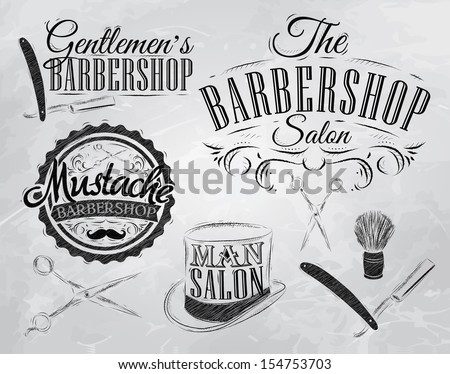 Set Barbershop, scissors, shaving brush, razor, cylinder, in a retro style and stylized for the drawing with coal. Vector - stock vector
