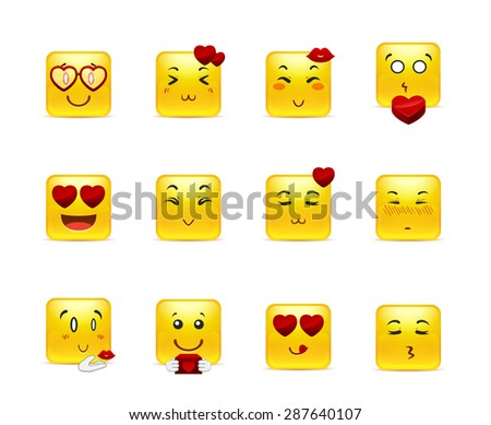 Set beauty valentine square emoticons in love - stock vector
