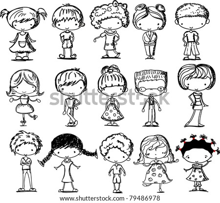 Set black and white drawings of children - stock vector