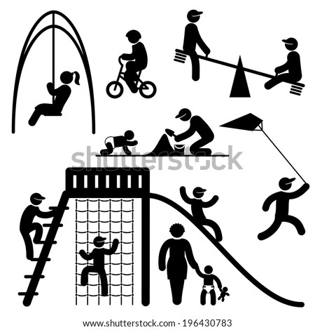 set black and white vector icons of people on children playground - stock vector