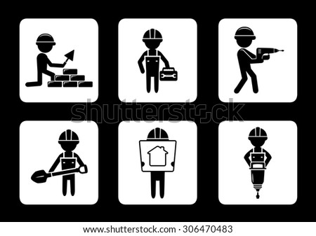 set black construction icons with builders and tools - stock vector