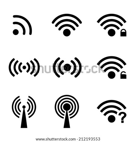 Set black vector wireless and wifi icons for remote access and communication via radio waves - stock vector