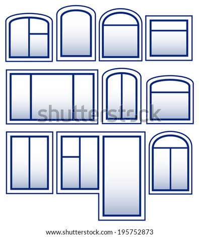 set blue isolated window silhouette on white background - stock vector