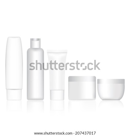 Set bottle shampoo and cream container blank. Vector illustratio - stock vector