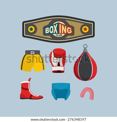 Set Boxing Icons. Boxing equipment. Vector illustration - stock vector