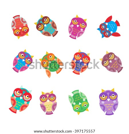 set bright colorful cute owls round frame for your text on white background, funny birds face with winking eye, bright colors. Vector - stock vector