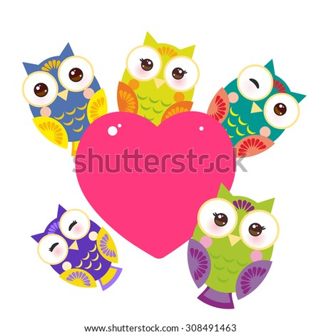 set bright colorful owls Card design with a funny animal with pink heart on a white background. Vector - stock vector