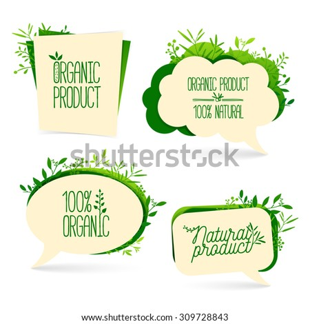 Set bubbles. For the presentation, commerce promotion. Organic product elements, leaves, twigs, logos. Vector. - stock vector