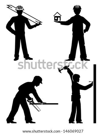 set builders outline vector - stock vector