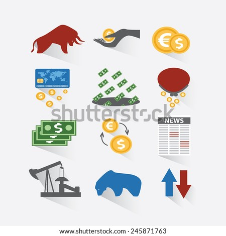 Set business and finance stock exchange icons.Finance investment money exchange trading icons flat set isolated vector illustration. Bull and bear - stock vector