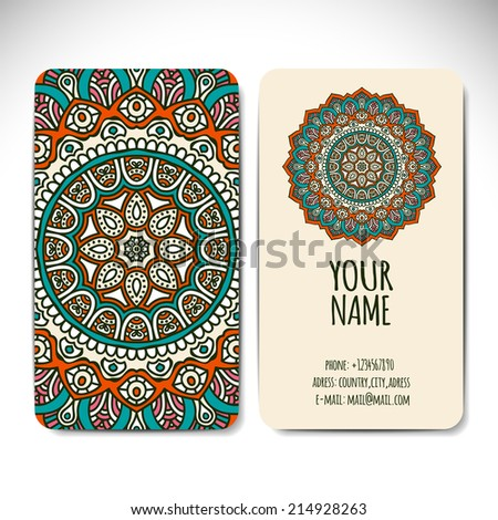 Set business card. Round Ornament Pattern. Vintage decorative elements. Hand drawn background. Islam, Arabic, Indian, ottoman motifs. - stock vector