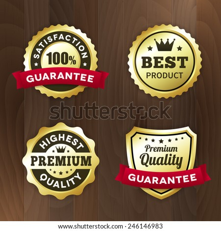 set business gold label on wood vector background. isolated from background. best product / premium quality tag - stock vector