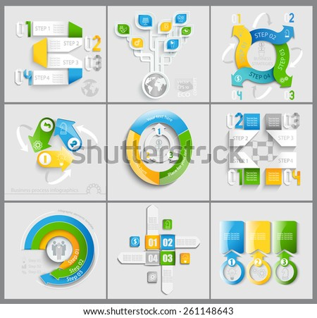 Set business marketing infographic template. Vector illustration.  - stock vector
