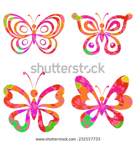 Set butterflies with colorful pattern isolated on white background. Eps10, contains transparencies. Vector - stock vector