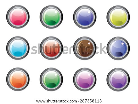 Set button of multicolored glass buttons with shadows - stock vector