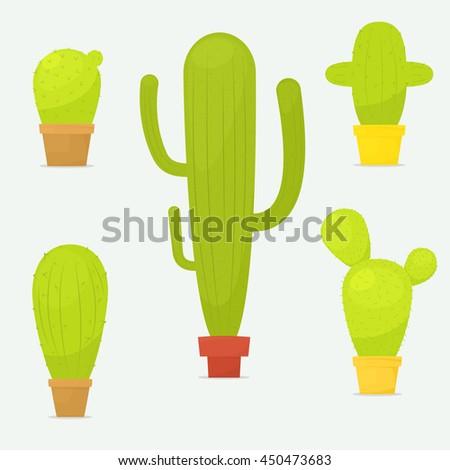 Set cactus in pots - stock vector