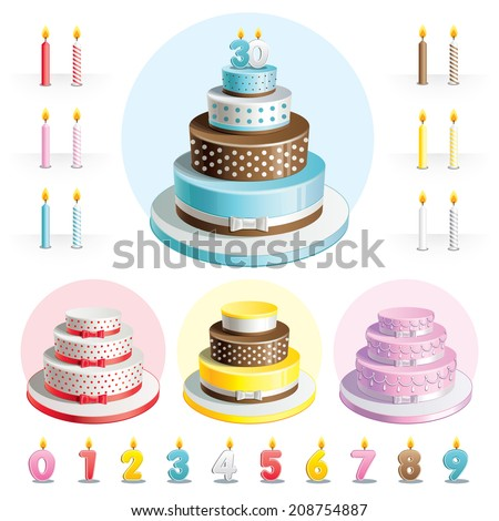 Set cakes for Anniversary with candles in the shape of numbers - stock vector