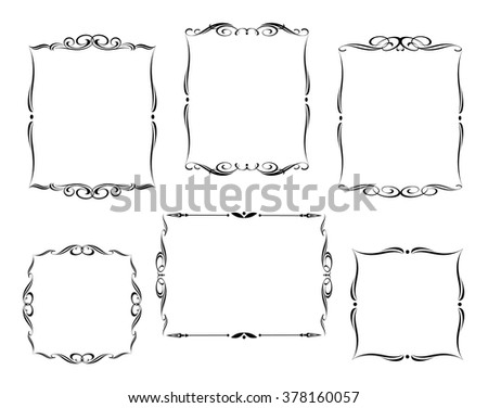 Set calligraphic frames .Vintage vector.Well built for easy editing. - stock vector