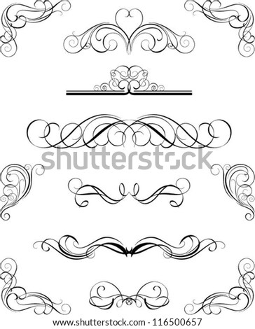 Set calligraphy elements - stock vector