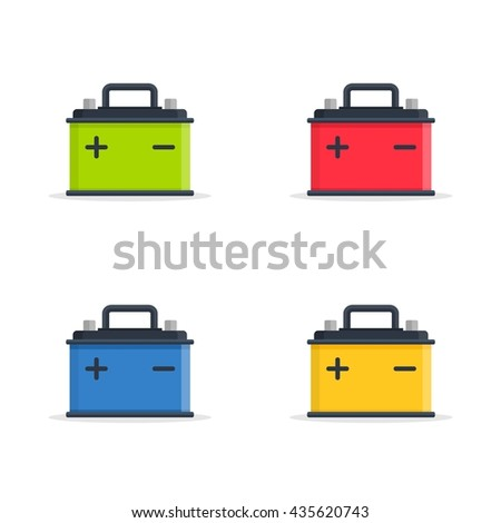 Set Car Battery icons isolated on white background. Accumulator battery energy power and electricity accumulator battery. Battery accumulator icon car auto parts electrical supply power in flat style. - stock vector