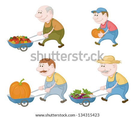 Set cartoon character farmers with a crop of vegetables and pumpkins. Vector - stock vector