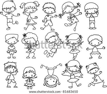 set cartoon children - stock vector